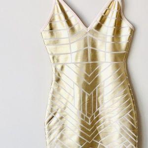 BCBG MaxAzria Gold Pattern Strappy Bodycon Dress
